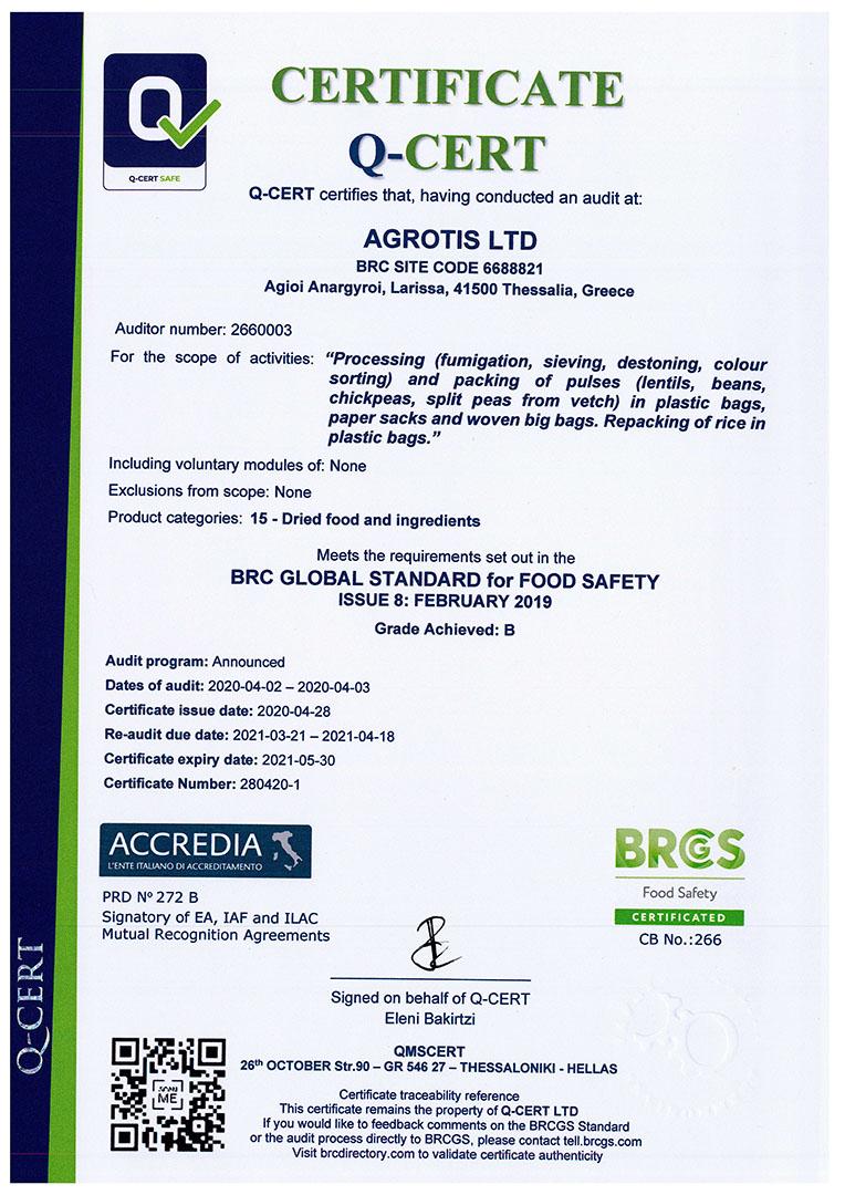 certificate agrotis