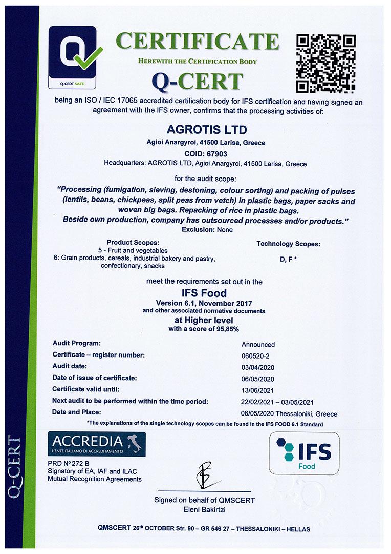certificate agrotis 2020